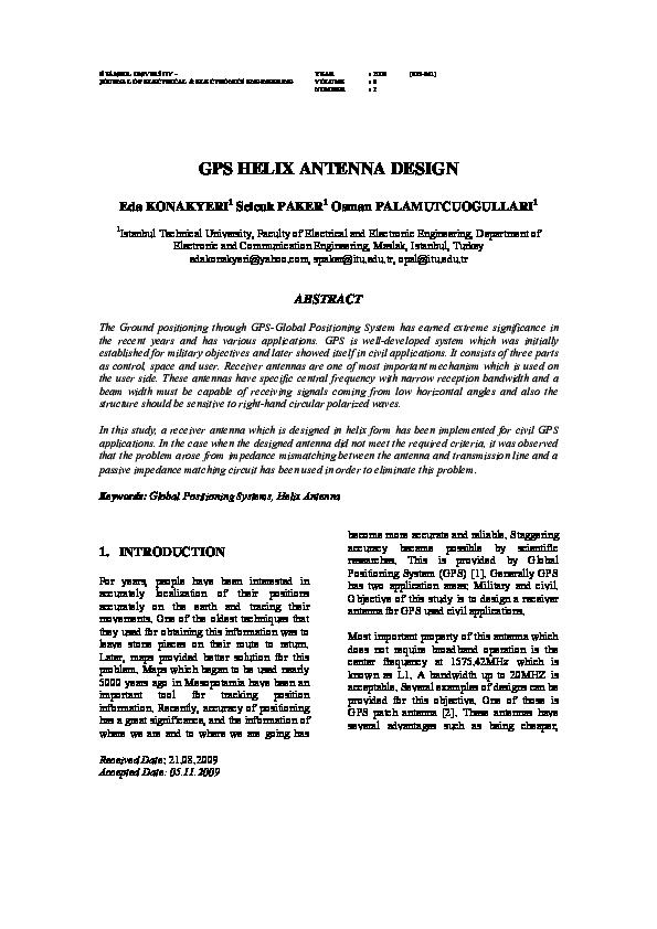 PDF) GPS HELIX ANTENNA DESIGN | Selcuk Paker - Academia edu