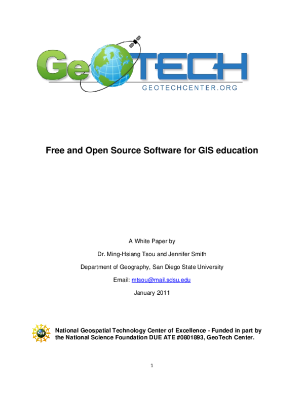 PDF) Free and Open Source software for GIS education | Duk