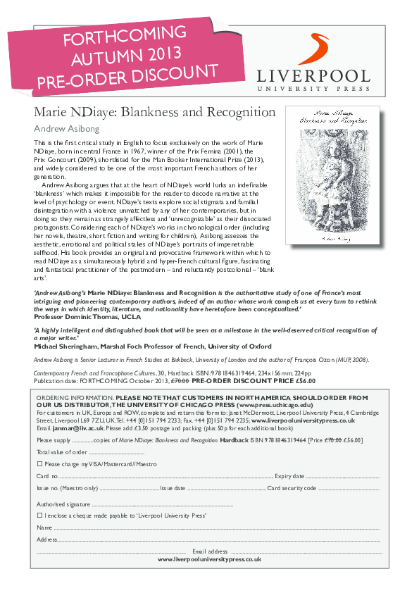 PDF) Marie NDiaye: Blankness and Recognition | Andrew