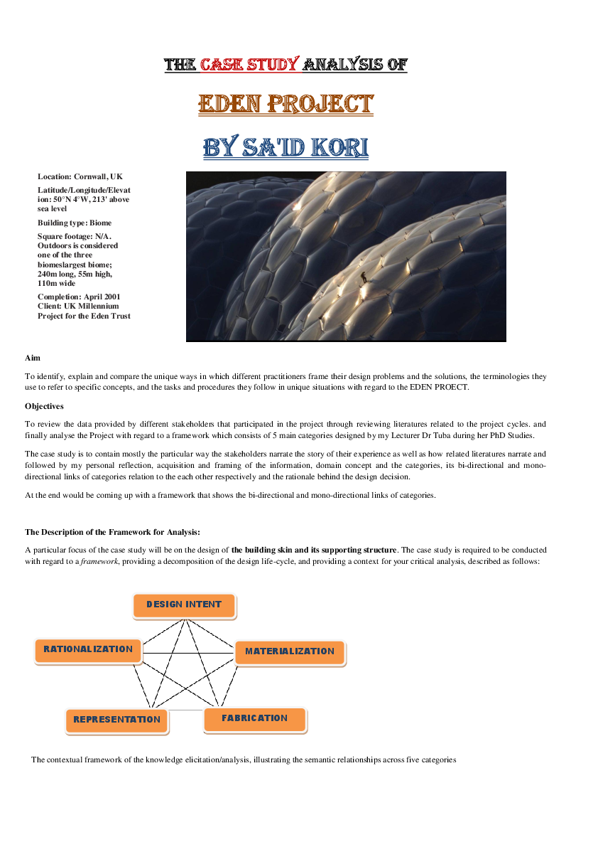 PDF) Case study on Eden Project, UK Design Solution by Sa'id