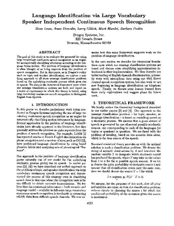 PDF) Language Identification via Large Vocabulary Speaker