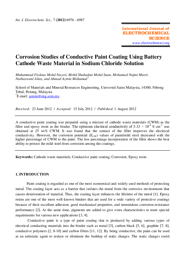 PDF) Corrosion studies of conductive paint coating using battery