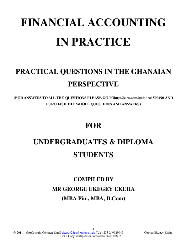 PDF) Financial Accounting in Practice: Practical Questions