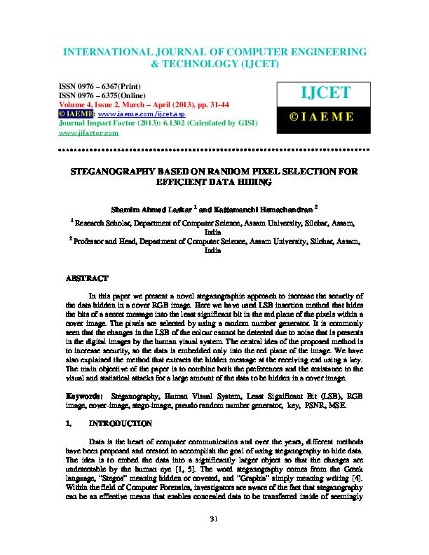 PDF) STEGANOGRAPHY BASED ON RANDOM PIXEL SELECTION FOR EFFICIENT
