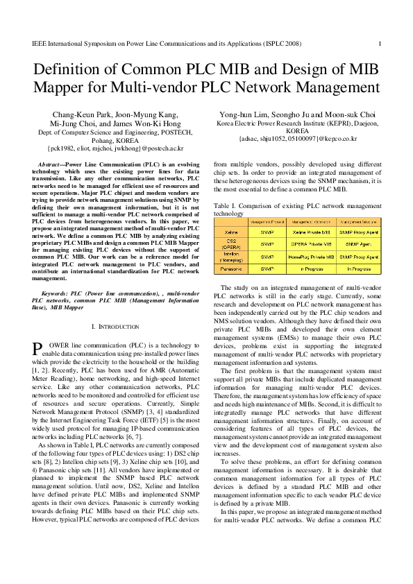 PDF) Definition of common PLC MIB and design of MIB Mapper