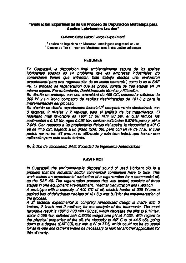 Tesis de aceites lubricantes