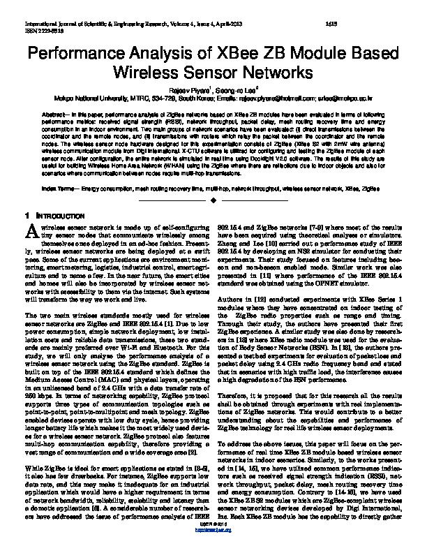 Performance Analysis of XBee ZB Module Based Wireless Sensor
