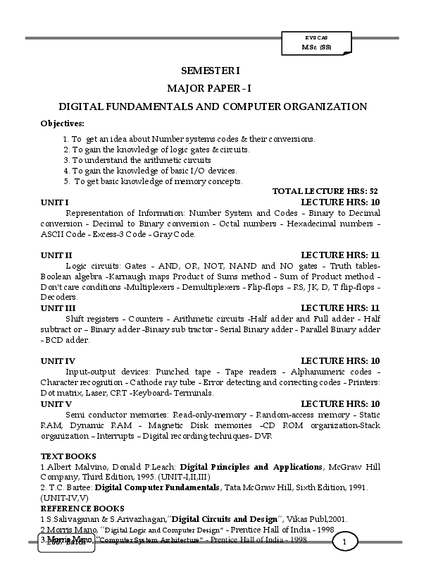 PDF) SEMESTER I MAJOR PAPER-I DIGITAL FUNDAMENTALS AND COMPUTER