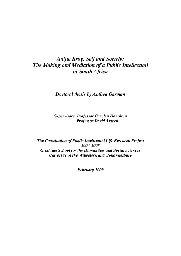 Phd Antjie Krog Self And Society The Making And Mediation Of A