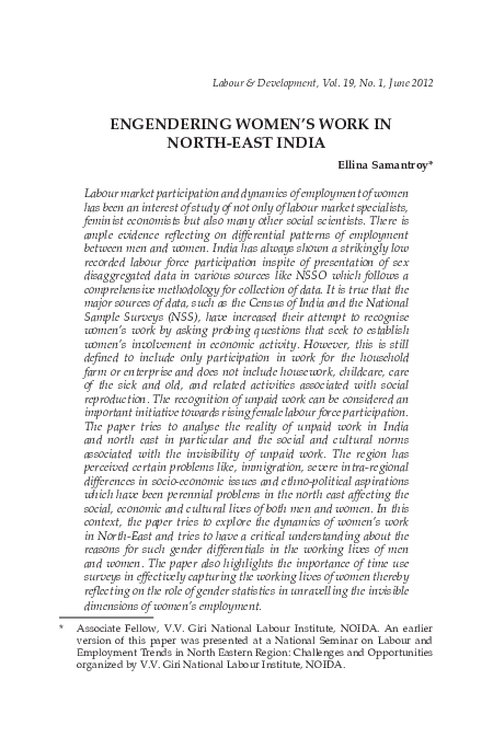 PDF) Engendering women's work in North east India | Dr