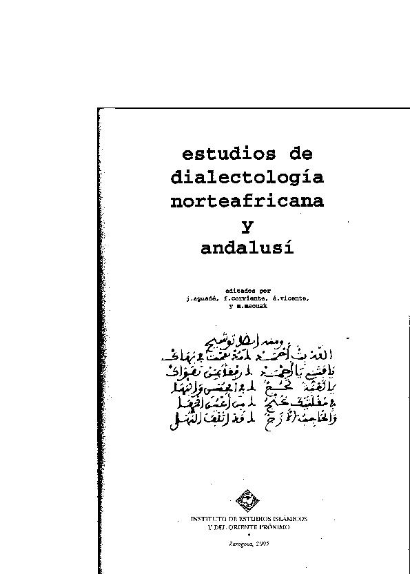 Pdf Estudios De Dialectología Norteafricana Y Andalusí Vol
