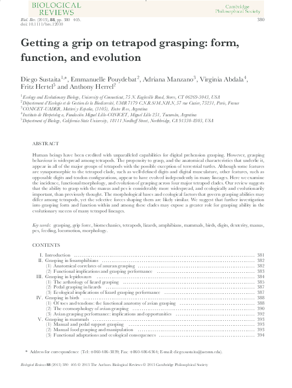 PDF) Getting a grip on tetrapod grasping: form, function and