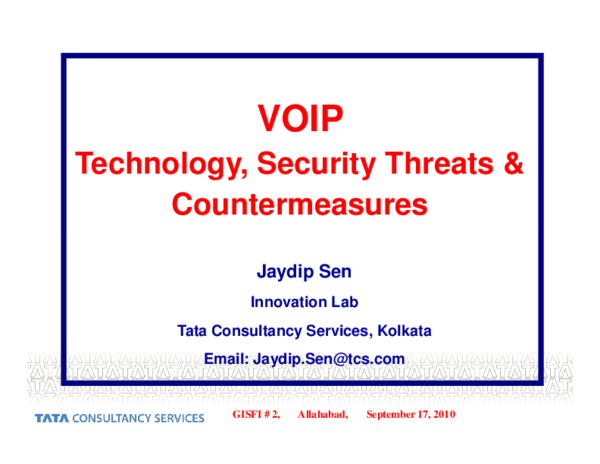 PDF) VOIP: Technology, Security Threats and Countermeasures