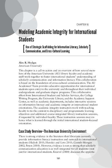 PDF) Modeling academic integrity for international students