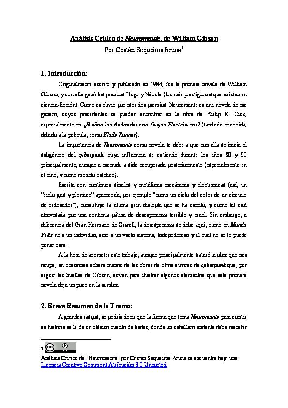 Pdf Analisis Critico De Neuromante Costan Sequeiros Academia Edu