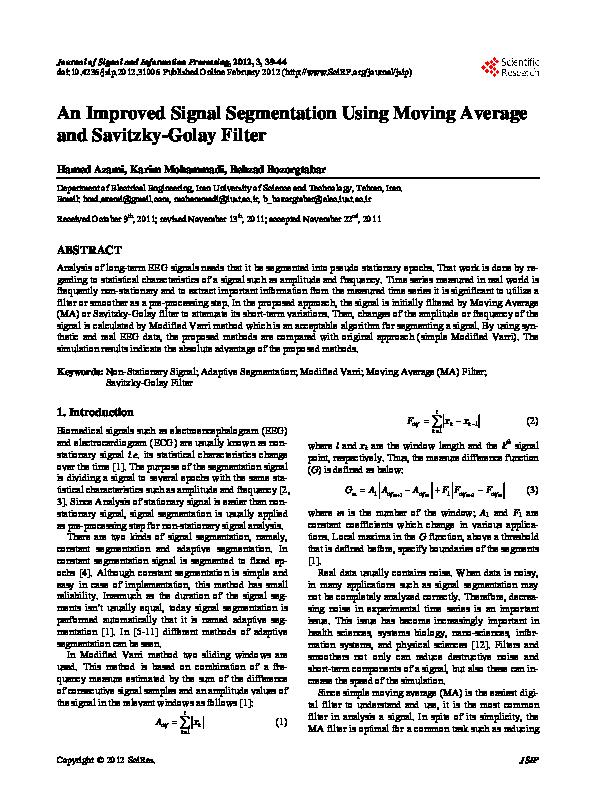 PDF) An improved signal segmentation using moving average