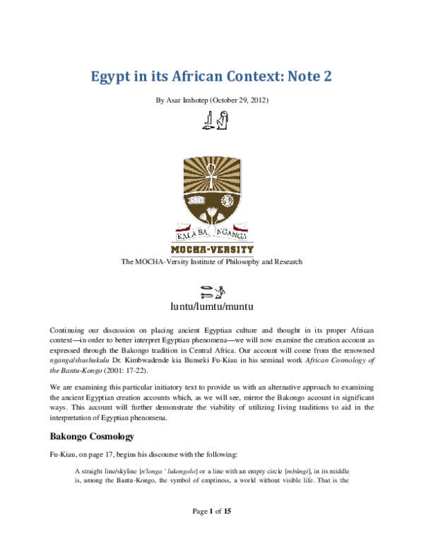 PDF) Egypt in its African Context: Note #2 | Asar Imhotep - Academia edu