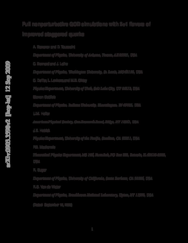 Pdf Nonperturbative Qcd Simulations With 2 1 Flavors Of Improved Staggered Quarks Ludmila Levkova Academia Edu