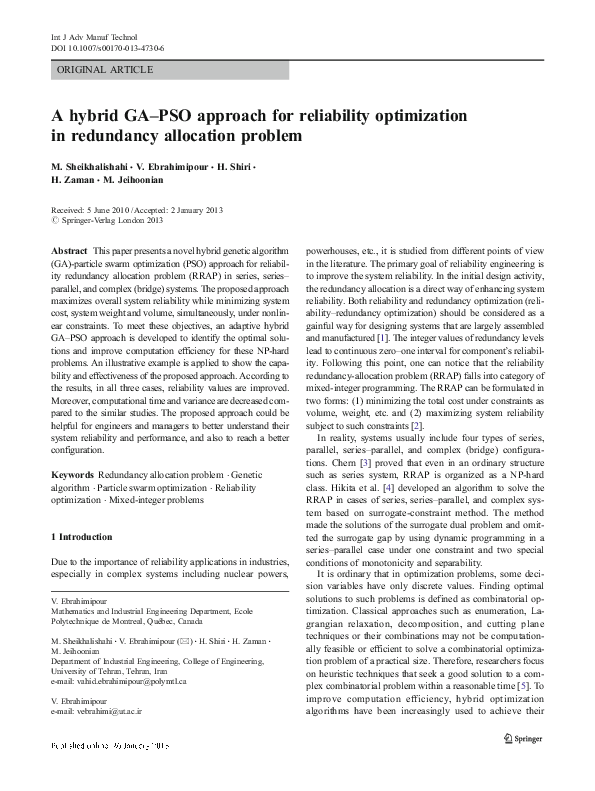 PDF) A hybrid GA–PSO approach for reliability optimization in