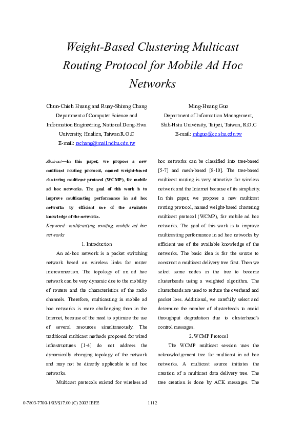 PDF) A weight-based clustering multicast routing protocol