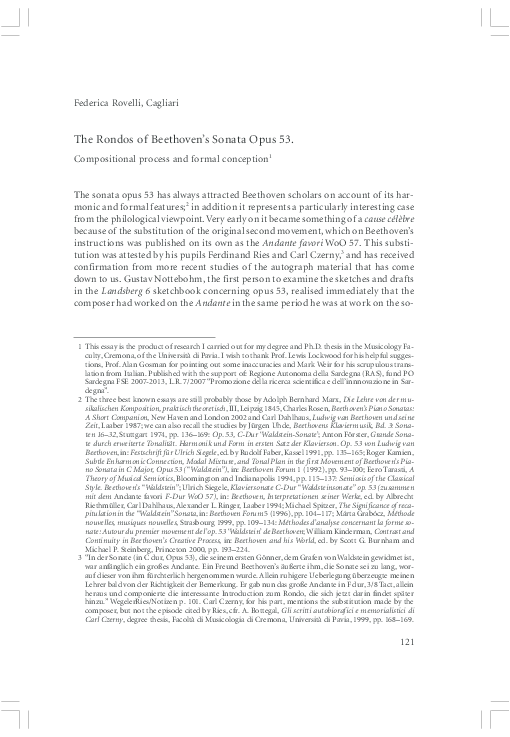 PDF) The Rondos of Beethoven's Sonata opus 53  Compositional Process