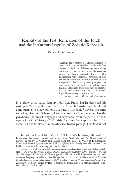 PDF) Iconicity of the Text: Reification of the Torah and the
