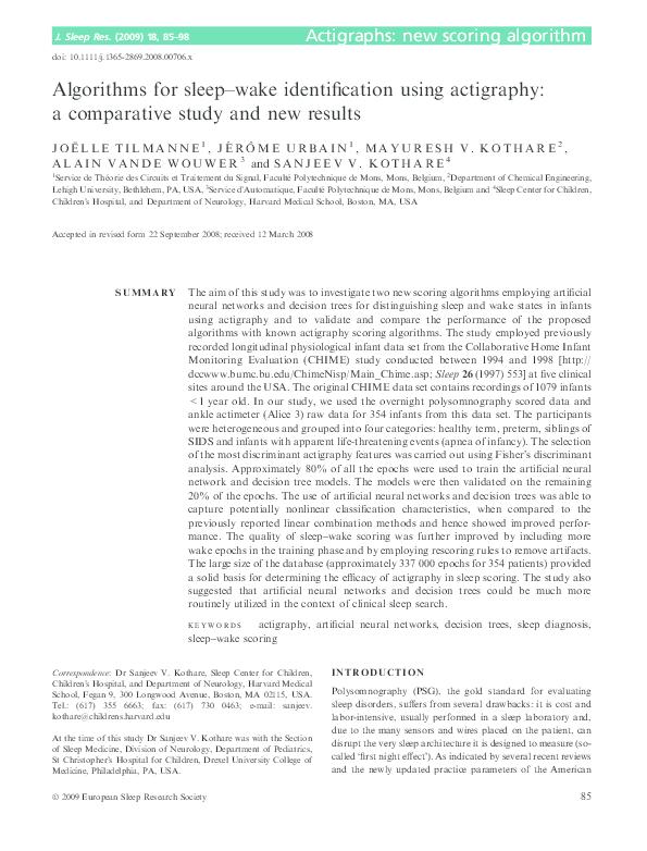 PDF) Algorithms for sleep–wake identification using actigraphy: a