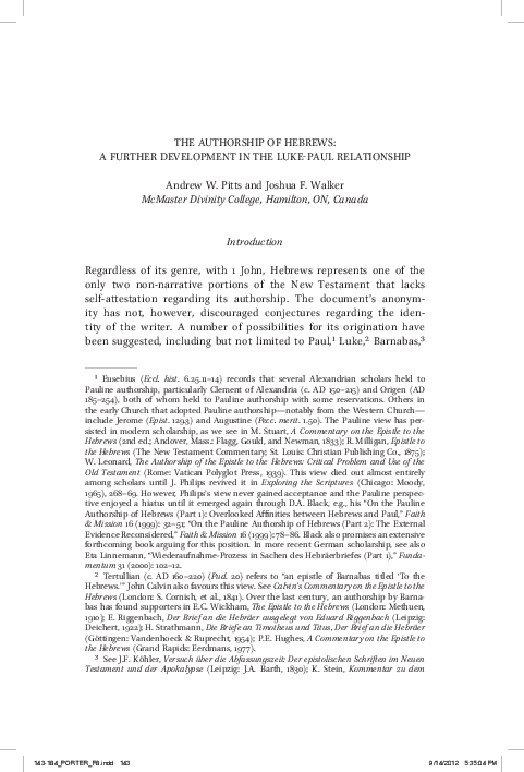 The Authorship Of Hebrews A Further Development In The Luke Paul
