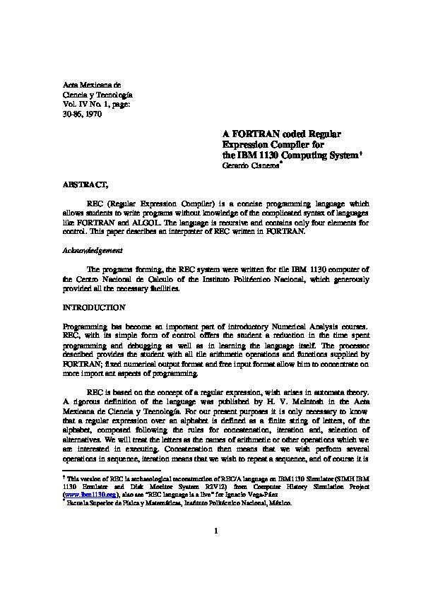 PDF) A FORTRAN coded regular expression Compiler for IBM 1130