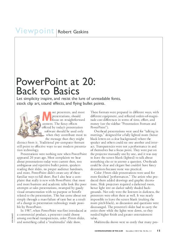 Pdf Powerpoint At 20 Back To Basics Robert Gaskins