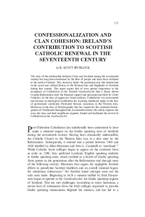 PDF) Confessionalisation and clan cohesion: Ireland's