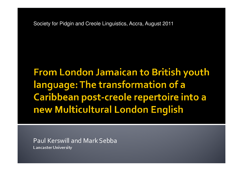 From London Jamaican To British Youth