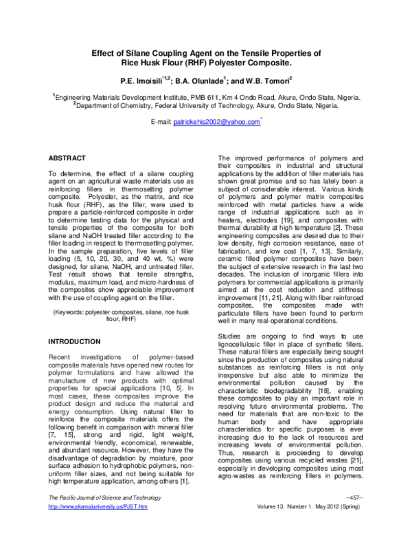 PDF) Effect of Silane Coupling Agent on the Tensile