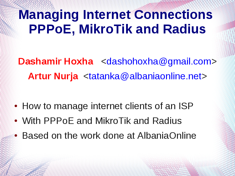 PDF) PPPoE With Mikrotik and Radius | Dashamir Hoxha - Academia edu