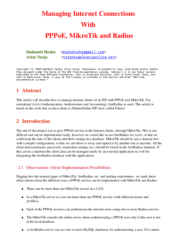 PDF) PPPoE With Mikrotik and Radius | Dashamir Hoxha