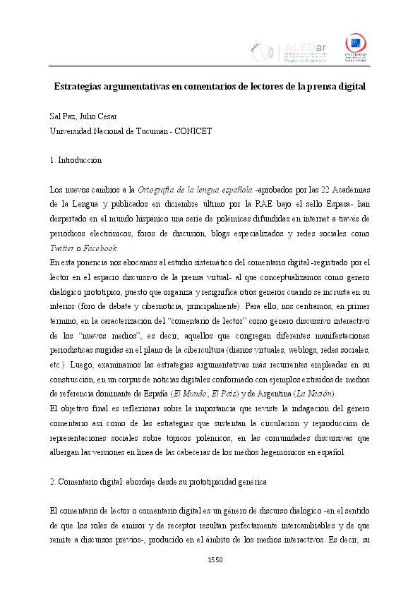 91f826a450 PDF) Estrategias argumentativas en comentarios de lectores de la ...
