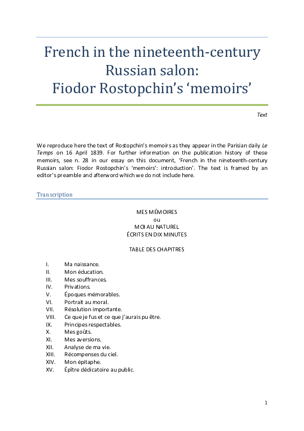Pdf French In The Nineteenth Century Russian Salon Fiodor