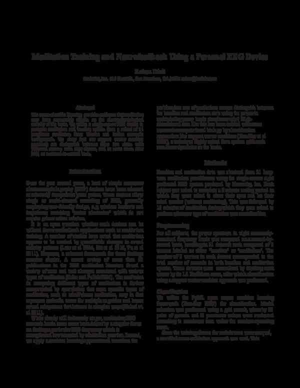 PDF) Meditation Training and Neurofeedback Using a Personal EEG