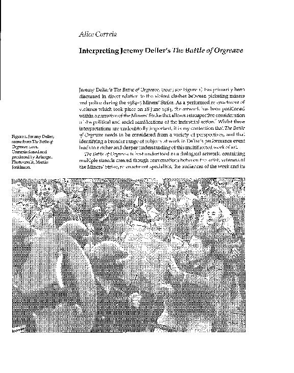 "PDF) ""Interpreting Jeremy Deller's The Battle of Orgreave"" | Alice"