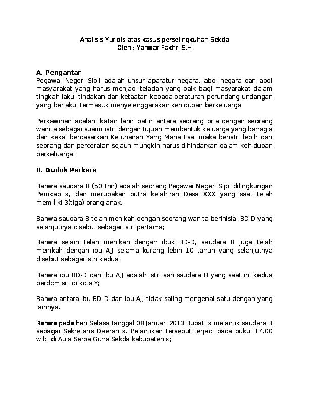 Doc Hukum Perselingkuhan Bagi Pegawai Negeri Sipil Sebuah Analisis