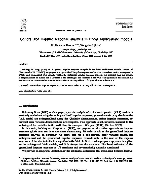 PDF) Generalized impulse response analysis in linear