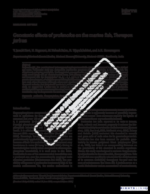 PDF) Genotoxic effect of profenofos on marine fish Therapon