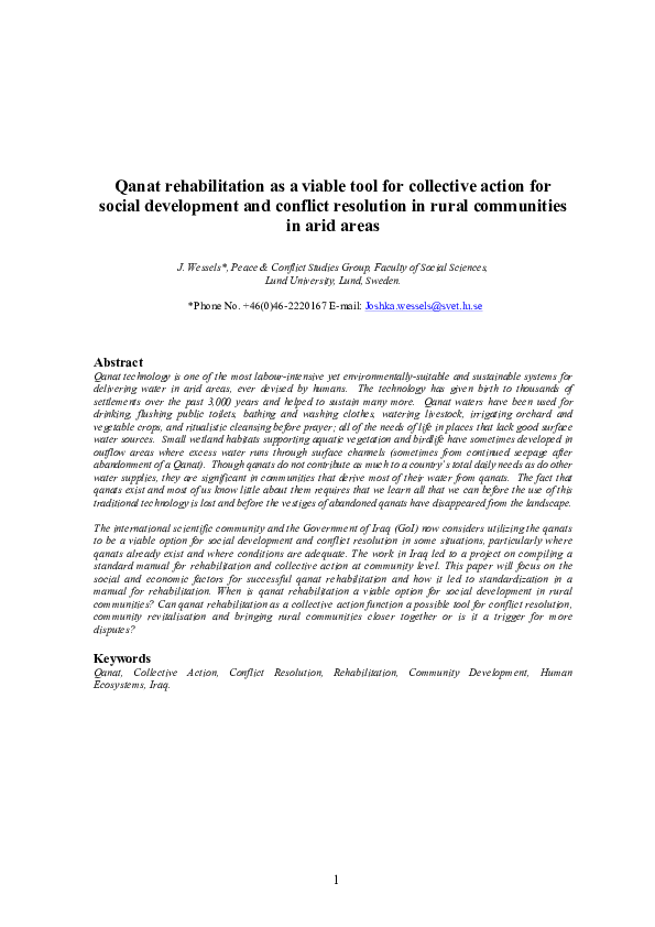PDF) Qanat rehabilitation as a viable tool for collective