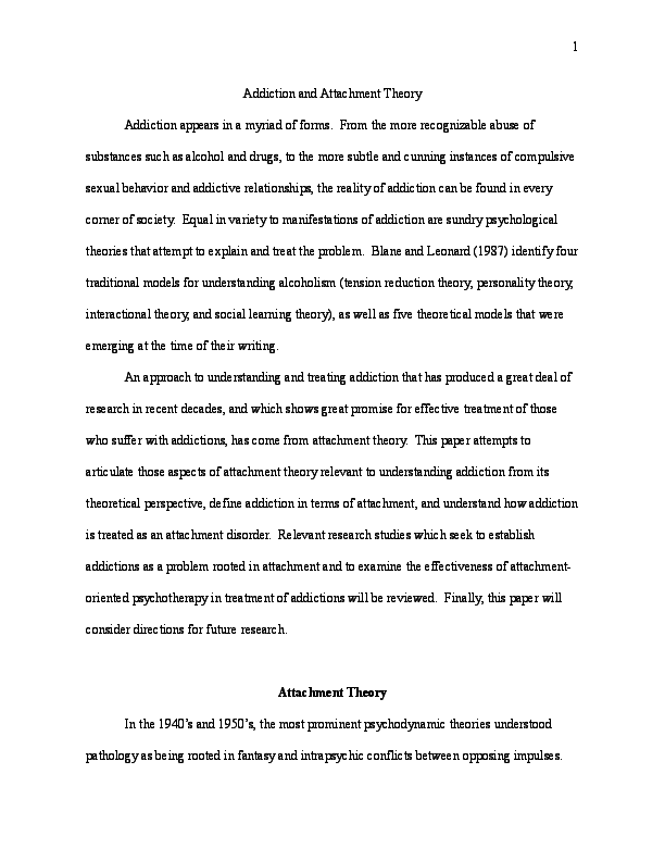 Addiction and Attachment Theory | Jake Porter - Academia edu