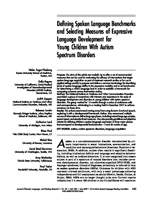 PDF) Defining Spoken Language Benchmarks and Selecting