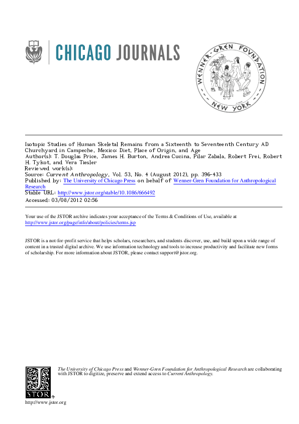 Pdf Isotopic Studies Of Human Skeletal Remains From A Sixteenth To Seventeenth Century Ad Churchyard In Campeche Mexico Diet Place Of Origin And Age T Douglas Price Academia Edu