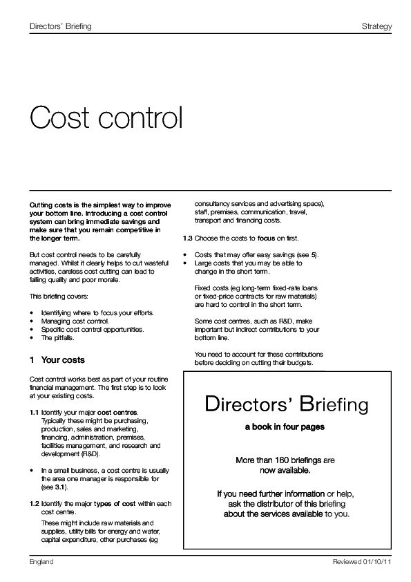 What are the major types of costs?
