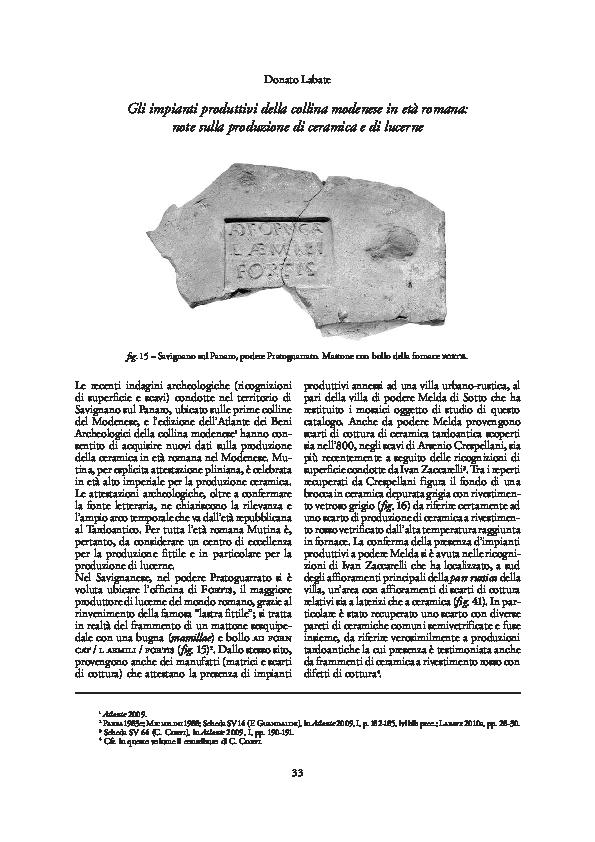 PDF) Gli impianti produttivi della collina modenese in età