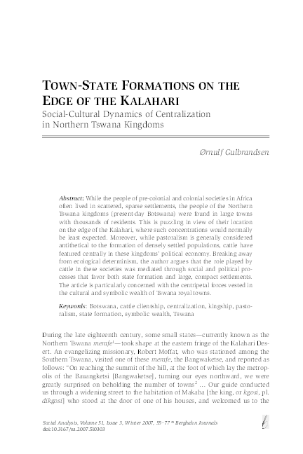 PDF) 'Town-State Formations on the Edge of the Kalahari