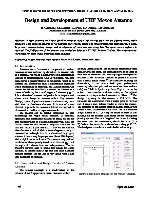 PDF) Design and Development of UHF Moxon Antenna | Tukaram